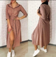 Платье миди в горошек софт каппучино A133