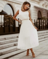 Платье плиссерованный низ белое RH122