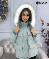 Куртка с мехом на капюшоне и нагрудными карманами мята ZI