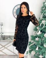 Платье гирюр сетка трикотаж черное RX
