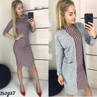 Костюм платье в бордовую полоску и кардиган OP37