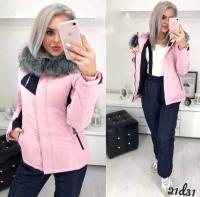 Костюм лыжник Size Plus с брюками на подтяжках розовый D31