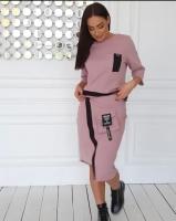 Костюм трикотажный юбка и кофта пудра RH06