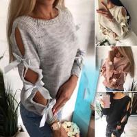 Вязаный свитер с ленточками рукава DUN