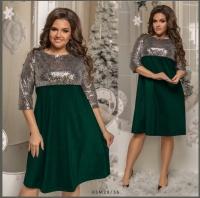 Платье Size Plus с серебряными пайетками и зеленым низом M29