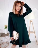 Платье креп низ волан зеленое O114