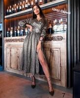 Платье миди с поясом люрекс песок серебро RX