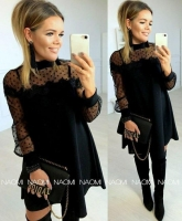 Платье SIZE PLUS лайт рукава гипюр черное A133