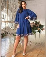 Платье SIZE PLUS манжеты и низ цветы синее RH06
