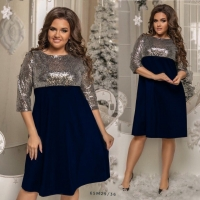 Платье Size Plus с серебряными пайетками и синим низом M29