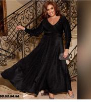 Платье SIZE PLUS длинное люрекс с поясом черное RH122