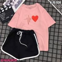 Шорты и футболка биение сердца розовая SV