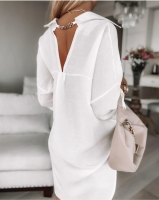 Блузка лайт с вырезом на спине белая A133 A116