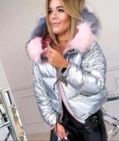 Куртка с мехом серебро H109