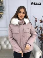 Куртка с мехом на капюшоне и нагрудными карманами пудра ZI