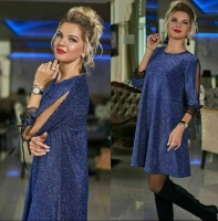 Платье люрекс песок SIZE PLUS синее RH06