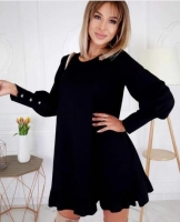 Платье креп низ волан черное O114