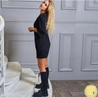 Платье вельвет с карманами черное RH06 122