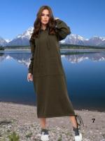 Платье длинное утепленное с карманом кенгуру хаки M37