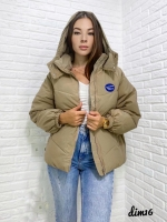 Куртка Oversize с капюшоном бежевая DIM