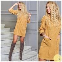 Платье вельвет с карманами желтое RH06 122