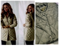 Стеганое пальто хаки RH122