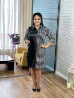 Платье SIZE PLUS плотный драп + экокожа черное RH06