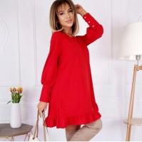 Платье креп низ волан красное O114