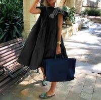 Платье ярусное с крылышками рукав черное O114