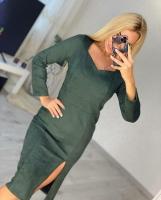 Платье спандекс с разрезом спереди хаки O114