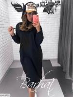 Туника-платье на флисе с карманом кенгуру черная UM37