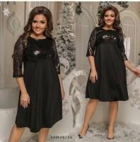Платье Size Plus с черными пайетками и черным низом M29