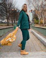 Костюм тройка утепленный жилет толстовка и брюки зеленый A116