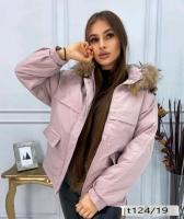 Куртка-парка с натуральным мехом пудра T124