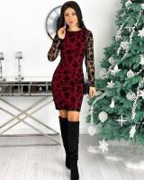 Платье гирюр сетка трикотаж бордо RX