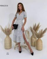 Платье софт в горошек белое RXA233.6