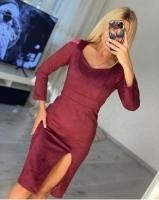 Платье спандекс с разрезом спереди бордо O114