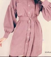 Туника-платье вельвет с поясом пудра O114