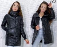 Удлиненная куртка под кожу стойка ворот черная ZI