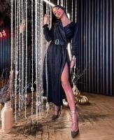 Платье миди с поясом люрекс песок черное RX