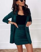 Костюм спандекс пиджак и юбка зеленый K115 116