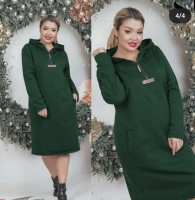 Туника платье с начесом SIZE PLUS зеленое D107
