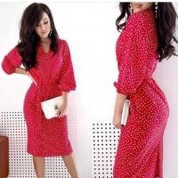 Платье миди софт в горошек красное AZ116