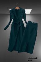 Тренч+Юбка миди комплект зеленый M37
