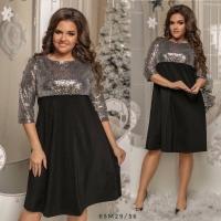 Платье Size Plus с серебряными пайетками и черным низом M29
