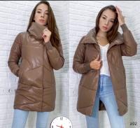 Удлиненная куртка под кожу стойка ворот шоколад ZI