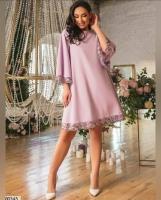 Платье SIZE PLUS манжеты и низ цветы пудра RH06