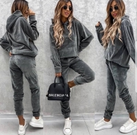 Велюровый костюм карман кенгуру серый N116