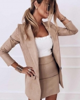 Костюм спандекс пиджак и юбка светлый беж K115 O114