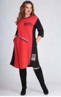 Туника-платье SIZE PLUS BEST с красной вставкой SH110